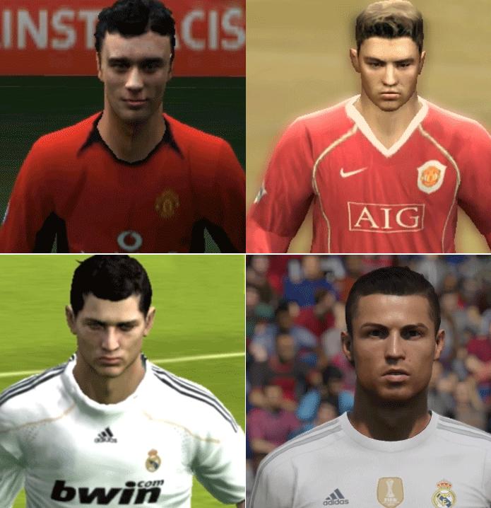 Cristiano Ronaldo e sua incrível evolução nos gráficos de Fifa (Foto: Reprodução/Thiago Barros)