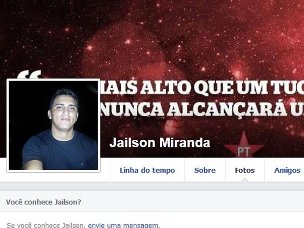 Vereador Jailson dos Santos Miranda (PT), de 29 anos, preso por receptação de carro furtado (Foto: Reprodução/Facebook)
