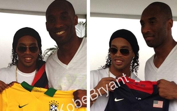 Reprodução instagram ronaldinho gaucho e Kobe bryant aterro do Flamengo (Foto: Reprodução / Instagram)