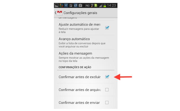 Ativando a confirmação de exclusão de uma mensagem no Gmail para Android (Foto: Reprodução/Marvin Costa)