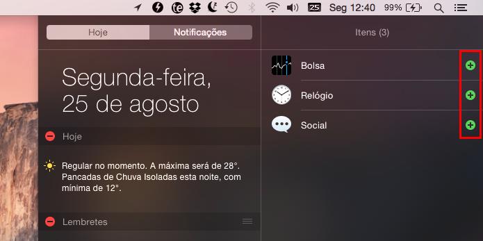Adicionando novos widgets (Foto: Reprodução/Helito Bijora)