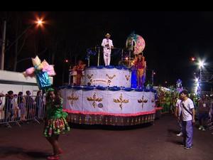 Tabajara no desfile das escolas de samba de Uberlândia 2016 (Foto: Reprodução/TV Integração)