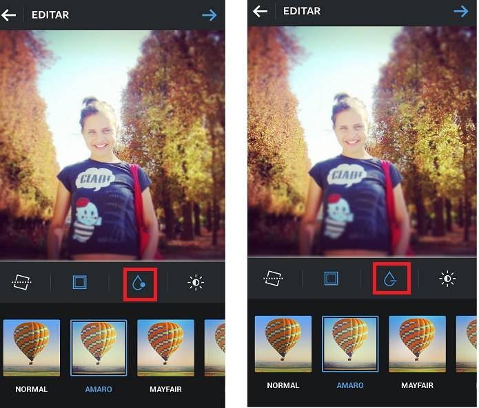 Há duas opções de aplicação de foco no Instagram (Reprodução/Taysa Coelho)