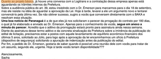 Trecho de e-mail de Sacha Reck sobre edital de Paranaguá (Foto: Reprodução)