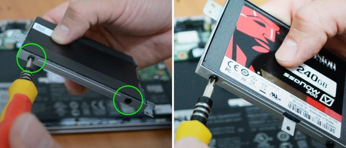 Remova o disco antigo do suporte e parafuse o novo SSD (Foto: Adriano Hamaguchi/TechTudo)