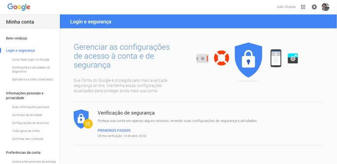 Página do Google possui várias opções para aumentar a segurança (Foto: Reprodução/Google)