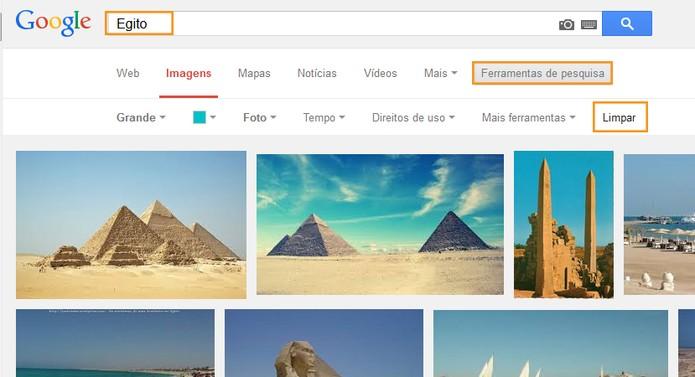 Restaurar os padrões dos filtros das buscas de imagens (Foto: Reprodução/Barbara Mannara)