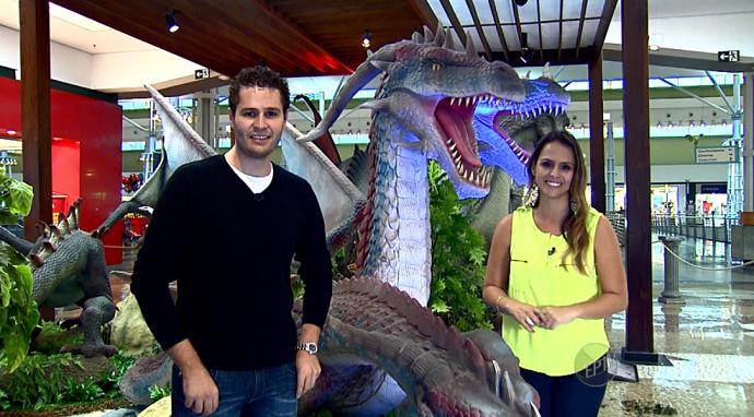 Pedro e Aline apresentam o programa em Campinas, na exposição Dragões (Foto: reprodução EPTV)