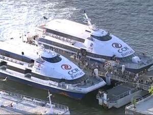 Circulação de barcas é normal na manhã desta terça-feira (20) (Foto: Reprodução / TV Globo)