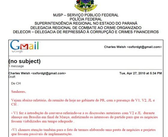 E-mail encontrado em pen drive apreendido pela Lava Jato (Foto: Reprodução)