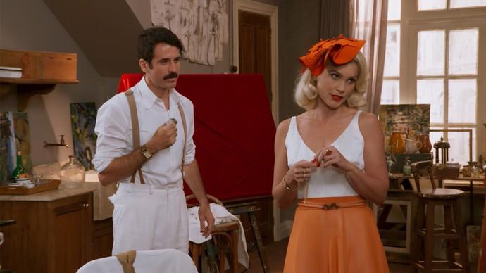 Depois de pegar o medalãho de Candinho, Sandra planeja transformar Ernesto em caipira (Foto: TV Globo)