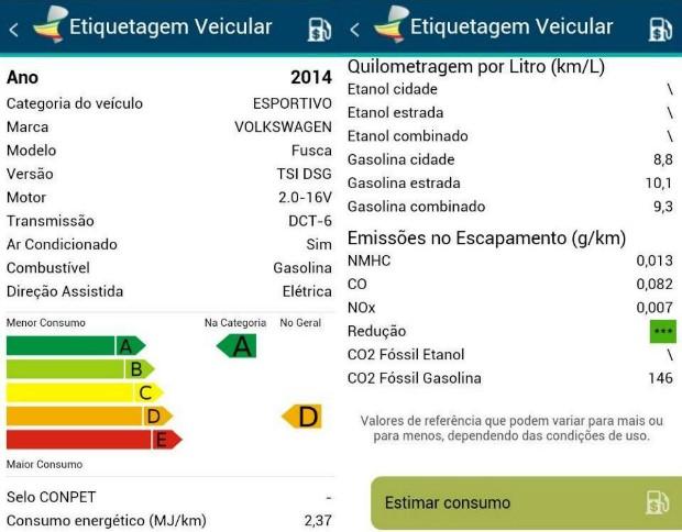 Aplicativo mostra os dados de Etiquetagem Veicular (Foto: Autoesporte)