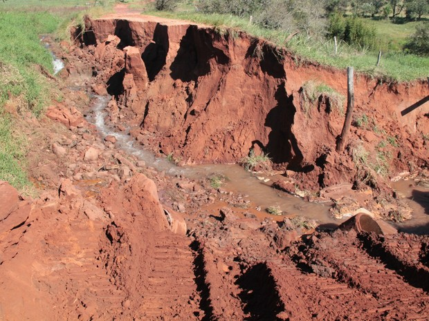 Erosão em área rural de Tacuru (Foto: José Carlos Coelho/ Prefeitura de Tacuru)