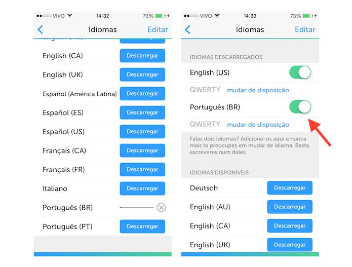 Ativando o idioma português no SwiftKey para iOS (Foto: Reprodução/Marvin Costa)