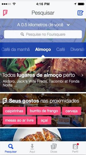 Foursquare vai abandonar 'check-in' em reformulação para focar em 'buscas locais personalizadas'. (Foto: Divulgação/Foursquare)