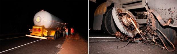 Segundo a PRF, carreta arrastou o corpo e a moto do entregador por 350 metros. (Foto: Marcelino Neto)
