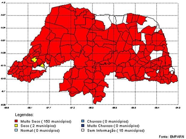 Análise das chuvas acumuladas mostra cidades 'muito secas' (Foto: Emparn/Reprodução)