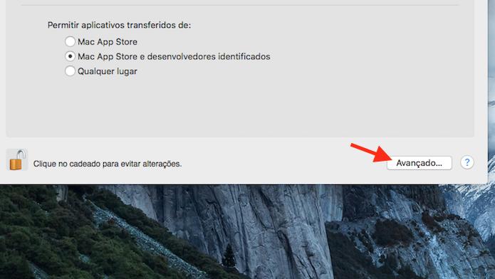 Acessando as configurações avançadas de privacidade e segurança do Mac (Foto: Reprodução/Marvin Costa)