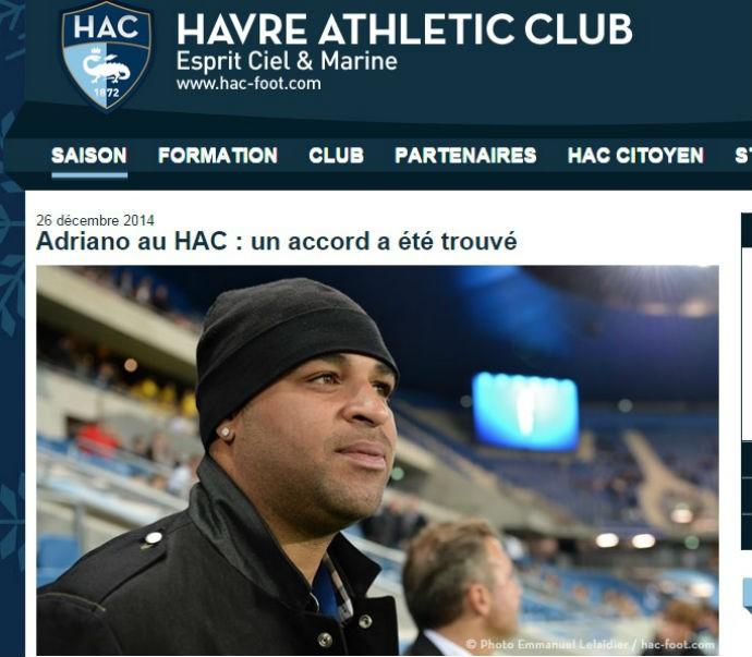 Adriano é confirmado pelo Le Havre (Foto: Reprodução site oficial Le Havre)
