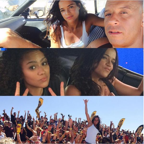A montagem publicada pela atriz Michelle Rodriguez nos bastidores e com os fãs de Velozes e Furiosos (Foto: Instagram)