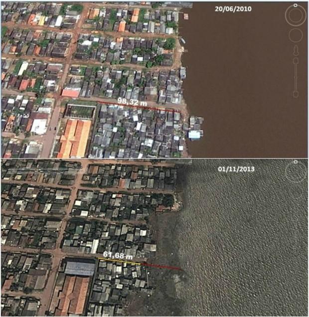 Imagens de satélite mostram avanço do rio na orla de Macapá (Foto: Divulgação/Iepa)
