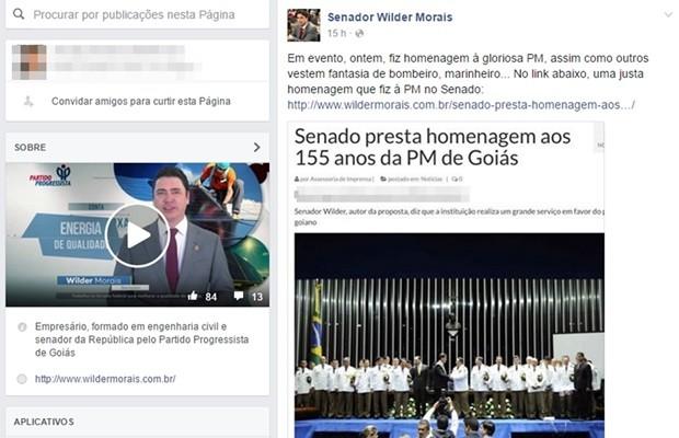 Senador Wilder Morais (PP) destacou que usou fantasia para homenagear a PM, Goiás (Foto: Reprodução/Facebook)