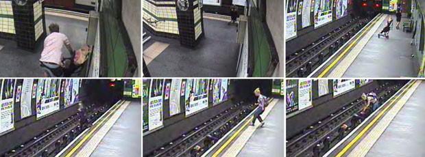 Um carrinho com uma criança dentro foi arrastado pelo vento para os trilhos do metrô de Londres; mulher salvou criança momentos antes de chegada de trem (Foto: British Transport Police/AP)