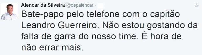 Tweet Alencar da Silveira, presidente América-MG (Foto: Reprodução / Twitter)