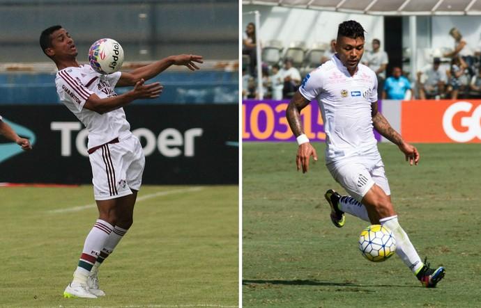 Fluminense x Santos acontece no Kleber Andrade, em Cariacica, no Espírito Santo (Foto: Montagem/GE)