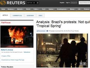 Reportagem da Reuters cita protestos no Brasil (Foto: Reprodução)
