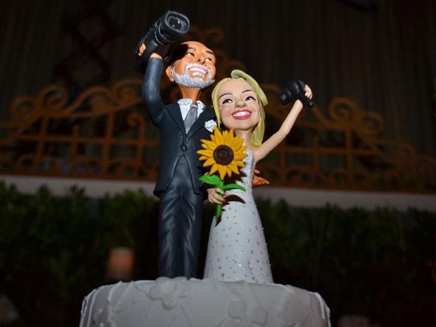 Noivinhos do bolo de casamento  (Foto: Paula Oliveira/Gshow)