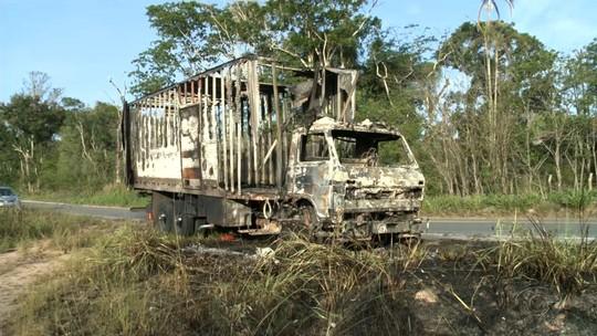 Caminhão tomba e pega fogo na BR-101, em Alagoas