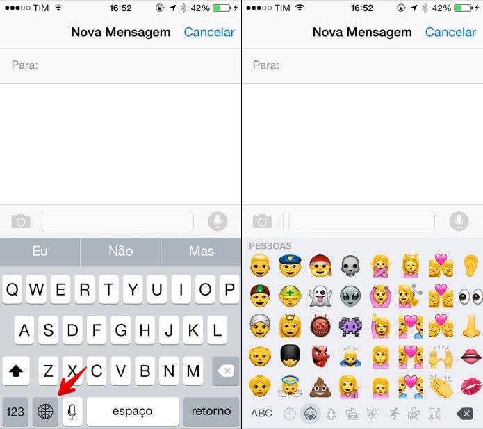 Abra o teclado de emojis (Foto: Reprodução/Helito Bijora)