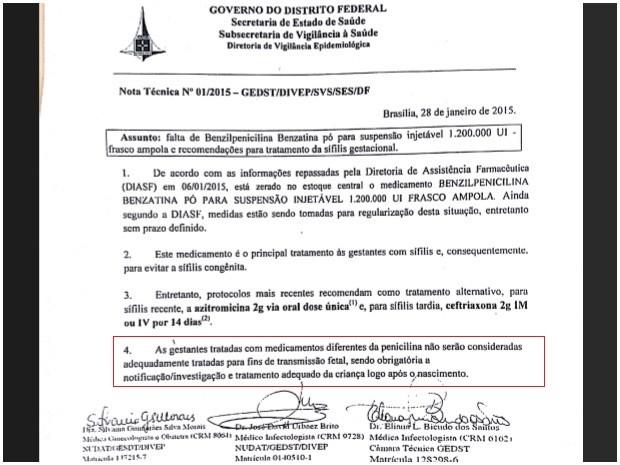 Circular da Secretaria de Saúde do Distrito Federal com orientações sobre medicamentos a partir da falta do Benzetacil (Foto: Secretaria de Saúde/Reprodução)