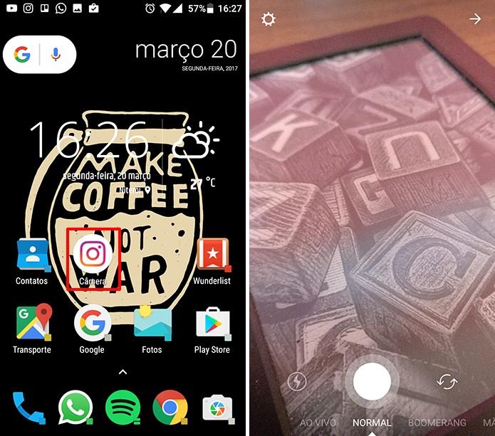 Instagram terá novo ícone na tela inicial do Android que abre câmera do Stories (Foto: Reprodução/Elson de Souza)