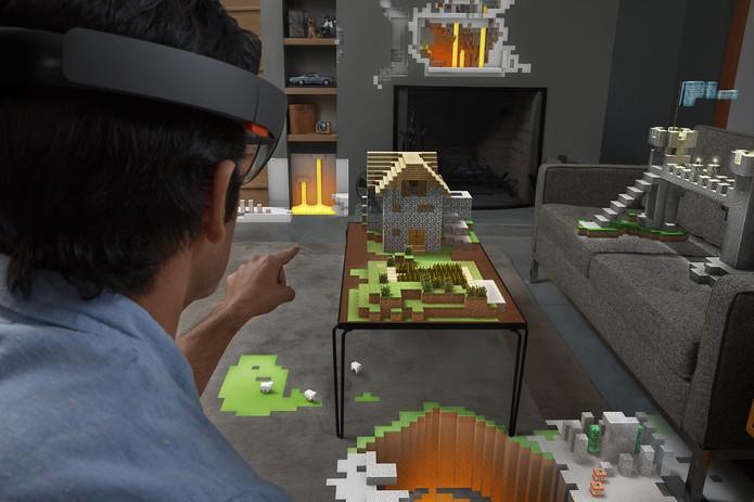 HoloLens pode ser utilizados para jogos como a versão holográfica de Minecraft (Foto: Divulgação/Windows Phone Store)