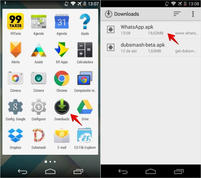 Acesse a pasta de downloads do Android (Foto: Reprodução/Helito Bijora)