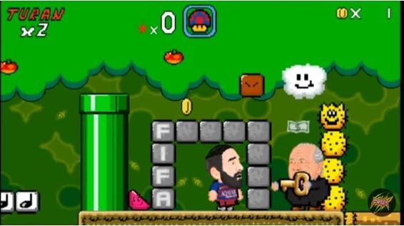 Arda Turan em sátira do game Mario World