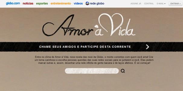 Página inicial da Corrente Amor à Vida; clique na imagem e participe desta interatividade (Foto: Globo)