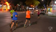 Corredores fazem treino geral para a corrida 'Outubro Rosa' em Santarém