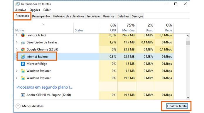 Encerro o processo do Internet Explorer no PC (Foto: Reprodução/Barbara Mannara)