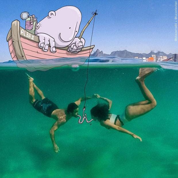 O casal desfrutando de um momento romântico sob as águas do Rio ganhou 'convidado' desenhado por Levitan (Foto: Lucas Levitan)