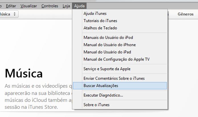 Confirmando se a versão mais recente do iTunes está instalada (Foto: Reprodução/Marvin Costa)