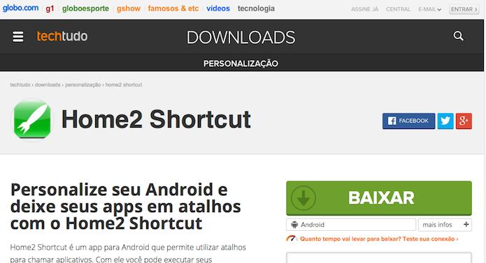 Instalando o Home2 Shortcut a partir do TechTudo Downloads (Foto: Reprodução/Edivaldo Brito)