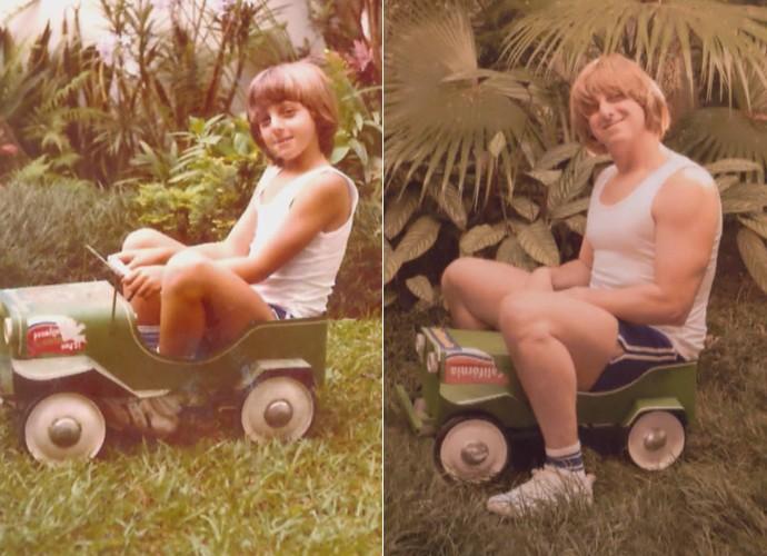 Luciano Huck recria foto de infância  (Foto: TV Globo)