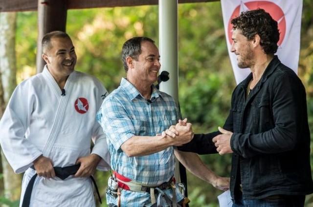 """Rogerio Sampaio,  Clayton Conservani e Flávio Canto no reality """"Ippon – A luta da vida"""", do """"Esporte espetacular""""  (Foto: TV Globo / João Cottas)"""