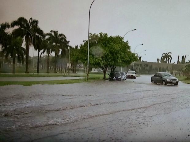 Chuva alagou ruas próximas à Lagoa Maior em Três Lagoas, MS (Foto: Marcelo Fefin/TV Morena)