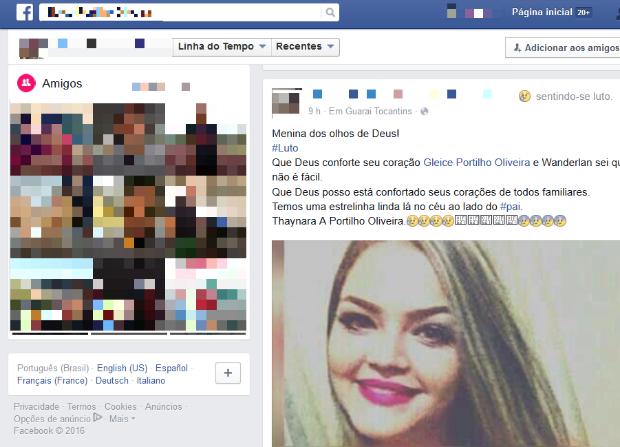 Parentes e amigos lamentam a morte de Thaynara Portilho nas redes sociais (Foto: Reprodução/Facebook)
