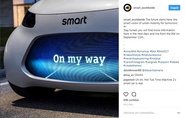 smart antecipa conceito para o Salão de Frankfurt, na Alemanha (Foto:  Instagram)