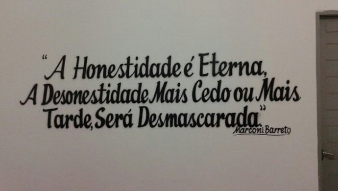 Frase arbitragem Barretão Globo FC x ABC (Foto: Diego Breno/FutebolPotiguar.com.br)